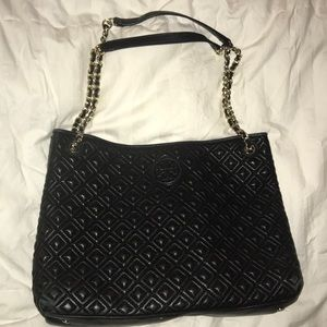 TORY BURCH MARION QUILTED LEATHER TOTE BAG